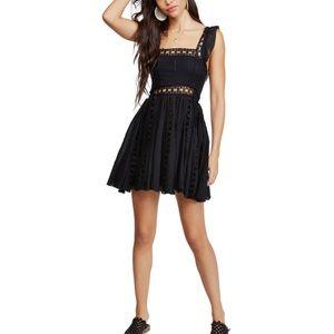 Free People Verona Lace Mini Dress Black Medium